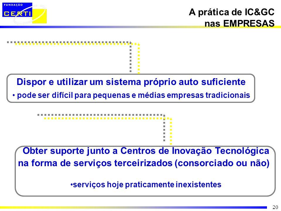 20 A prática de IC&GC nas EMPRESAS Dispor e utilizar um sistema próprio auto suficiente pode ser difícil para pequenas e médias empresas tradicionais