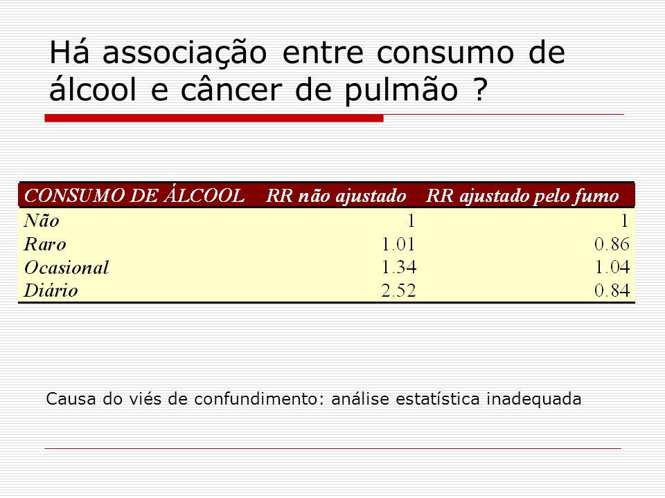 Há associação entre consumo de álcool e câncer de pulmão ? Causa do viés de confundimento: análise estatística inadequada