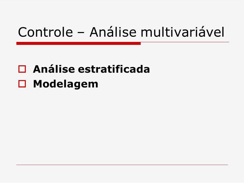 Controle – Análise multivariável Análise estratificada Modelagem