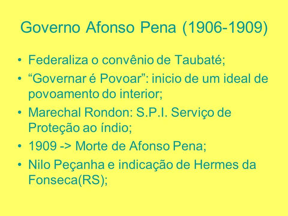 Governo Rodrigues Alves (1902 – 1906) Projeto de Urbanização e Saneamento do Rio de Janeiro; Questão do Acre -> Compra em 1903 da Bolívia (Tratado de