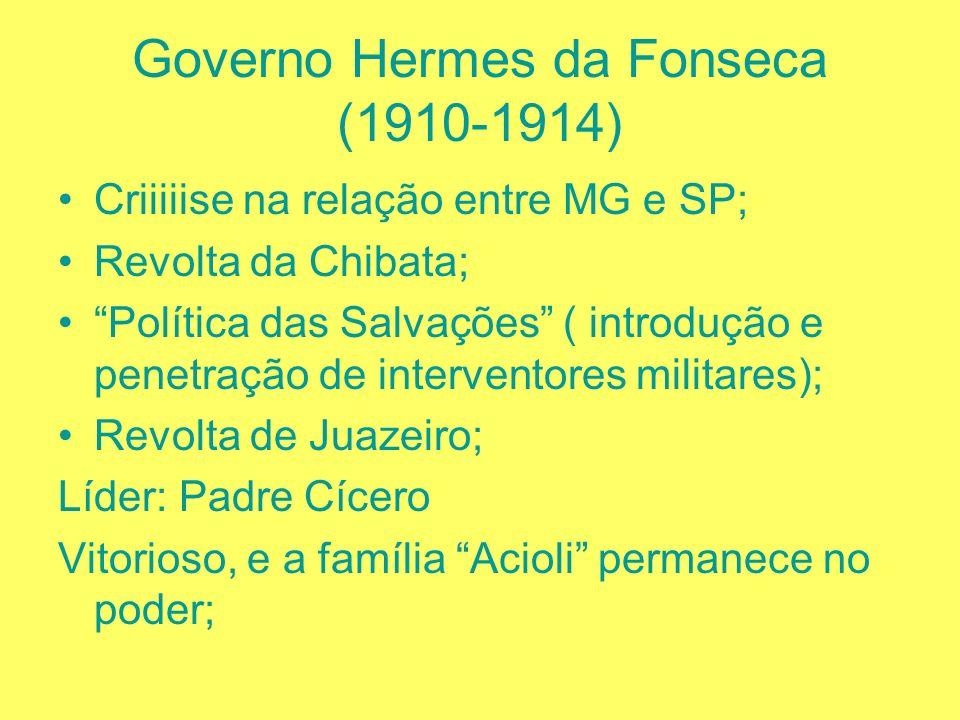 Governo Afonso Pena (1906-1909) Federaliza o convênio de Taubaté; Governar é Povoar: inicio de um ideal de povoamento do interior; Marechal Rondon: S.