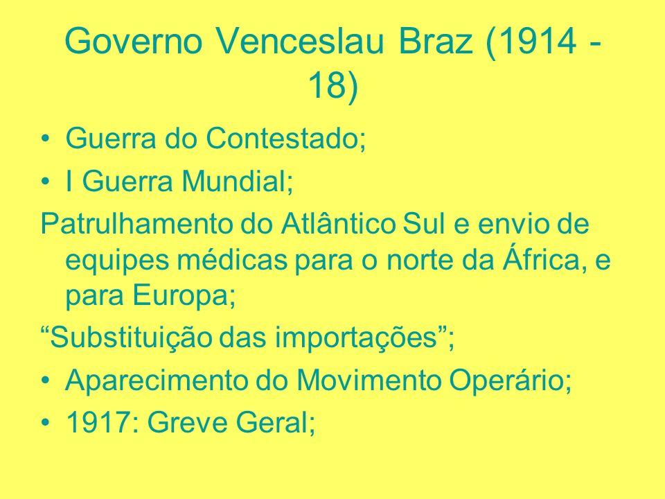 Governo Hermes da Fonseca (1910-1914) Criiiiise na relação entre MG e SP; Revolta da Chibata; Política das Salvações ( introdução e penetração de inte