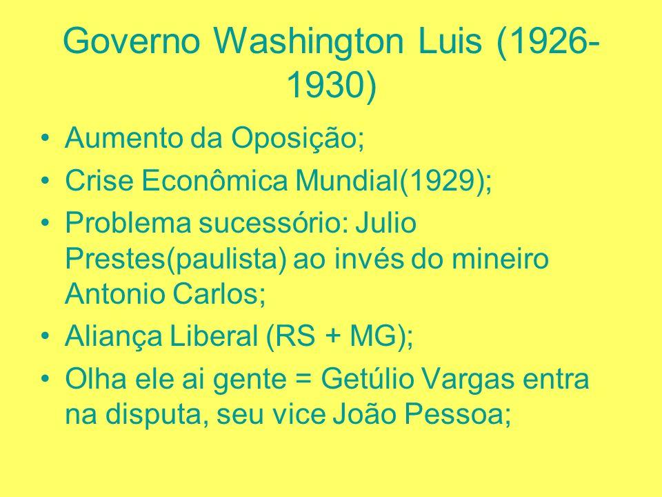 Governo Epitácio Pessoa (1919 – 1920) Tenentismo (década de 20); Governo Artur Bernardes (1921 – 1926) Coluna Prestes; Junção de duas Colunas, Gaúcha