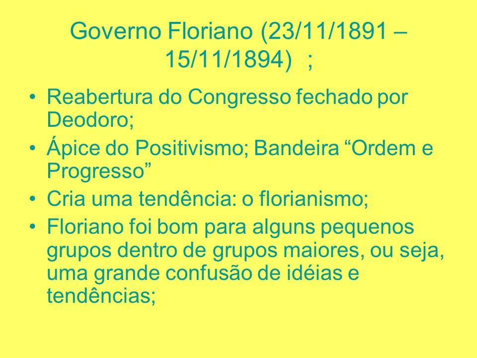 GOVERNO MARECHAL DEODORO DA FONSECA 25/02/1891 – 23/11/1891; Pegou gosto para ser Presidente; Antes das eleições decreta estado de sitio e tenta um go