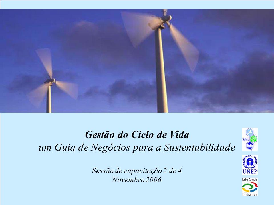 1 Gestão do Ciclo de Vida um Guia de Negócios para a Sustentabilidade Sessão de capacitação 2 de 4 Novembro 2006