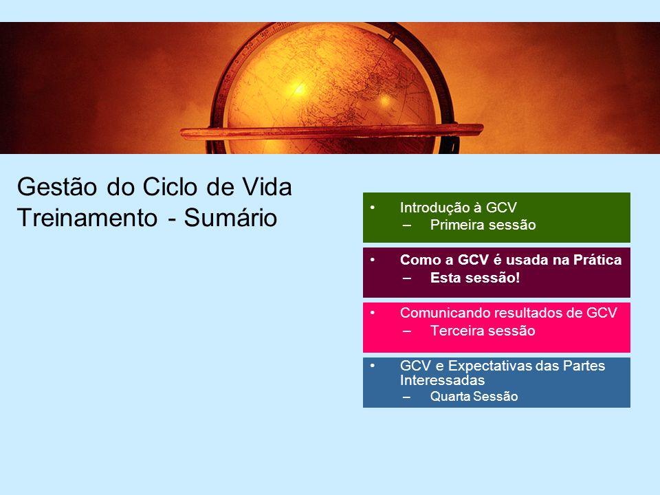 2 2 Gestão do Ciclo de Vida Treinamento - Sumário Introdução à GCV –Primeira sessão Como a GCV é usada na Prática –Esta sessão.