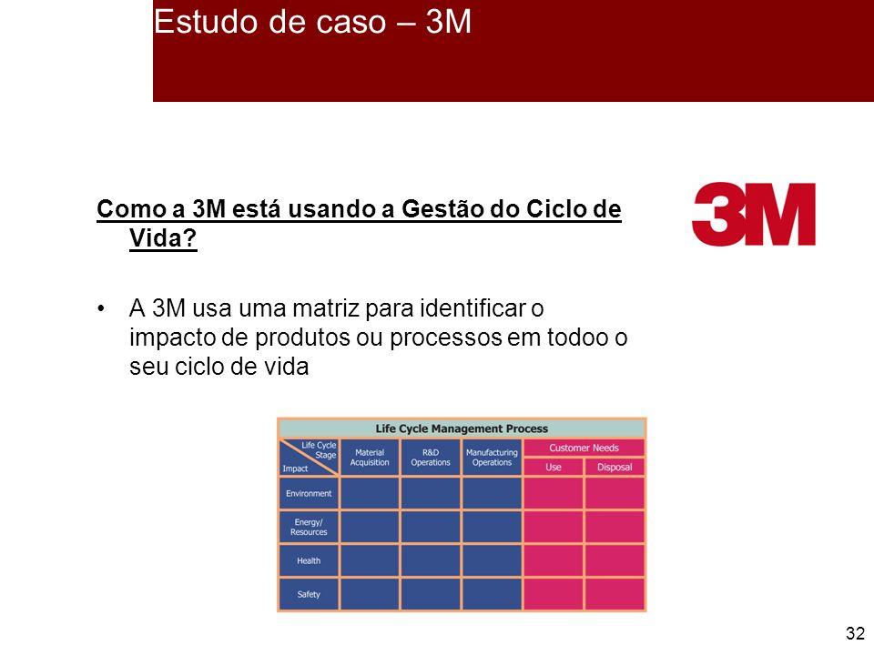 32 Estudo de caso – 3M Como a 3M está usando a Gestão do Ciclo de Vida.