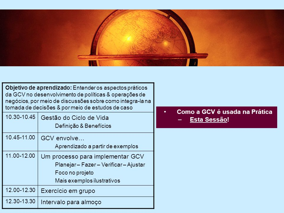 5 5 Comunicando os resultados da GCV –Terceira Sessão Objetivo de aprendizado: Fornecer um bom entendimento na comunicação de ferramentas e estratégias.