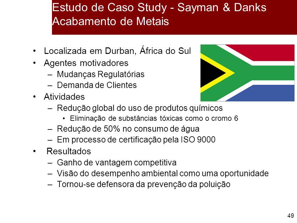 49 Estudo de Caso Study - Sayman & Danks Acabamento de Metais Localizada em Durban, África do Sul Agentes motivadores –Mudanças Regulatórias –Demanda de Clientes Atividades –Redução global do uso de produtos químicos Eliminação de substâncias tóxicas como o cromo 6 –Redução de 50% no consumo de água –Em processo de certificação pela ISO 9000 Resultados –Ganho de vantagem competitiva –Visão do desempenho ambiental como uma oportunidade –Tornou-se defensora da prevenção da poluição