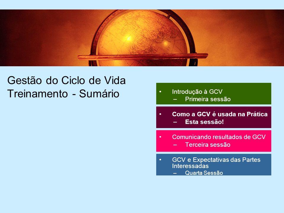 64 Gestão do Ciclo de Vida Treinamento - Sumário Introdução à GCV –Primeira sessão Como a GCV é usada na Prática –Esta sessão.