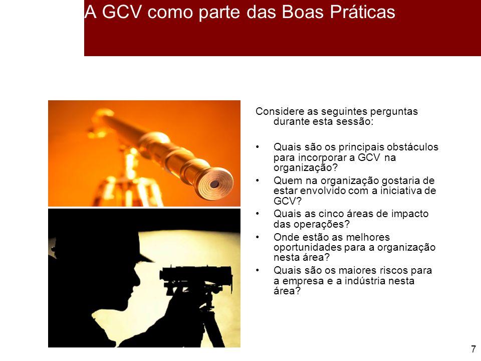 7 7 A GCV como parte das Boas Práticas Considere as seguintes perguntas durante esta sessão: Quais são os principais obstáculos para incorporar a GCV na organização.
