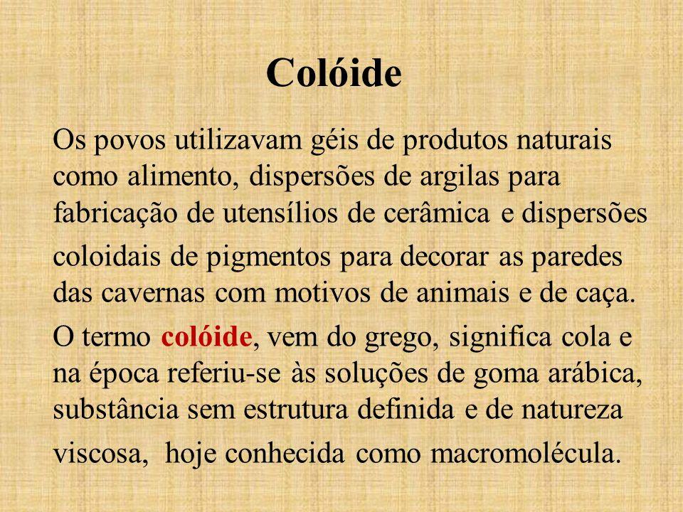 Colóide Os povos utilizavam géis de produtos naturais como alimento, dispersões de argilas para fabricação de utensílios de cerâmica e dispersões colo