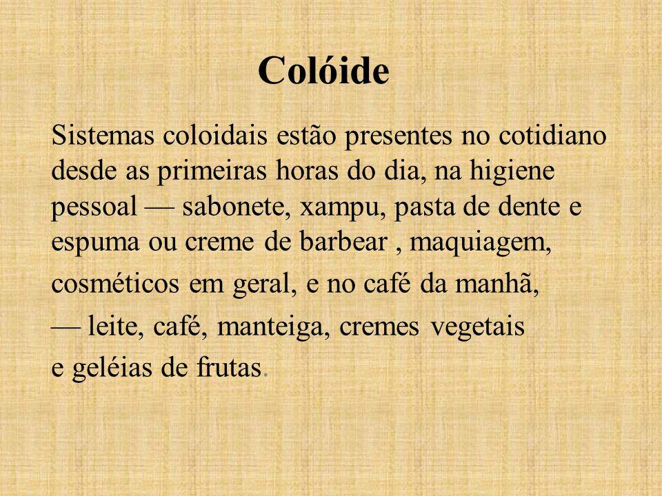 Colóide Sistemas coloidais estão presentes no cotidiano desde as primeiras horas do dia, na higiene pessoal sabonete, xampu, pasta de dente e espuma o
