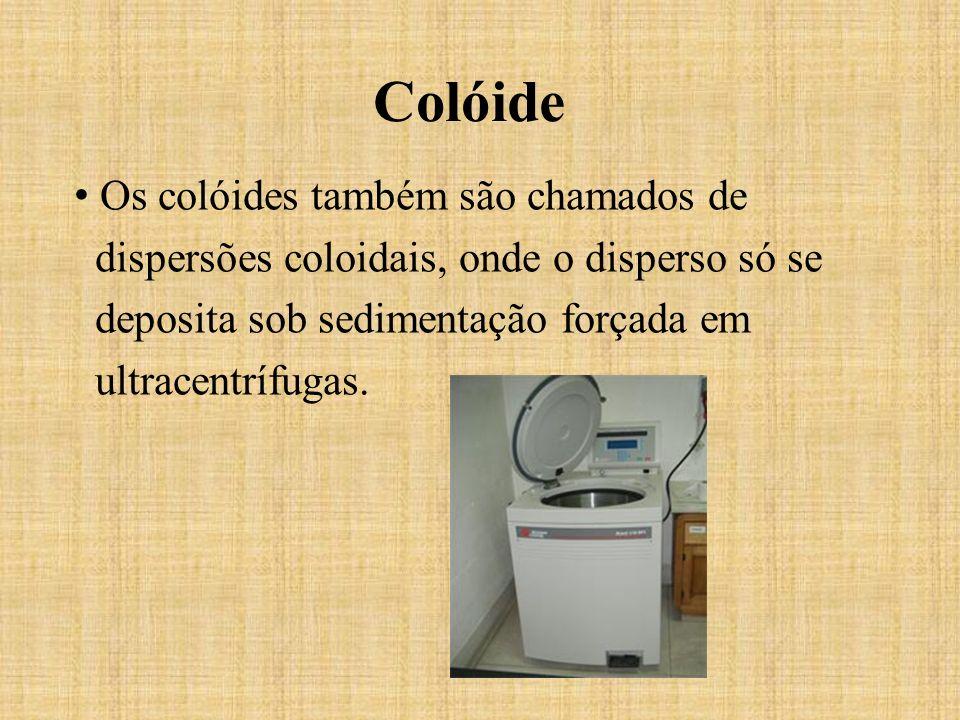 O tamanho das partículas de um colóide pode atravessar um filtro, porém não uma membrana semi-permeável.