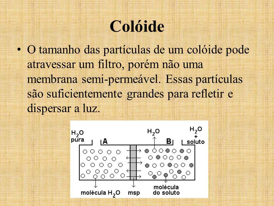 O tamanho das partículas de um colóide pode atravessar um filtro, porém não uma membrana semi-permeável. Essas partículas são suficientemente grandes