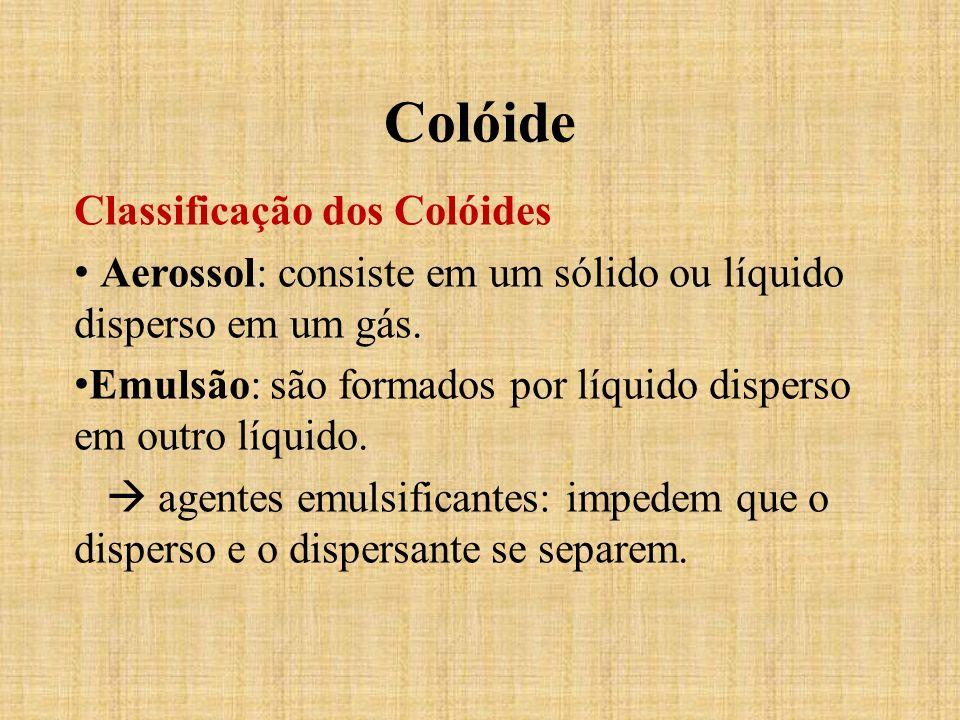 Classificação dos Colóides Aerossol: consiste em um sólido ou líquido disperso em um gás. Emulsão: são formados por líquido disperso em outro líquido.