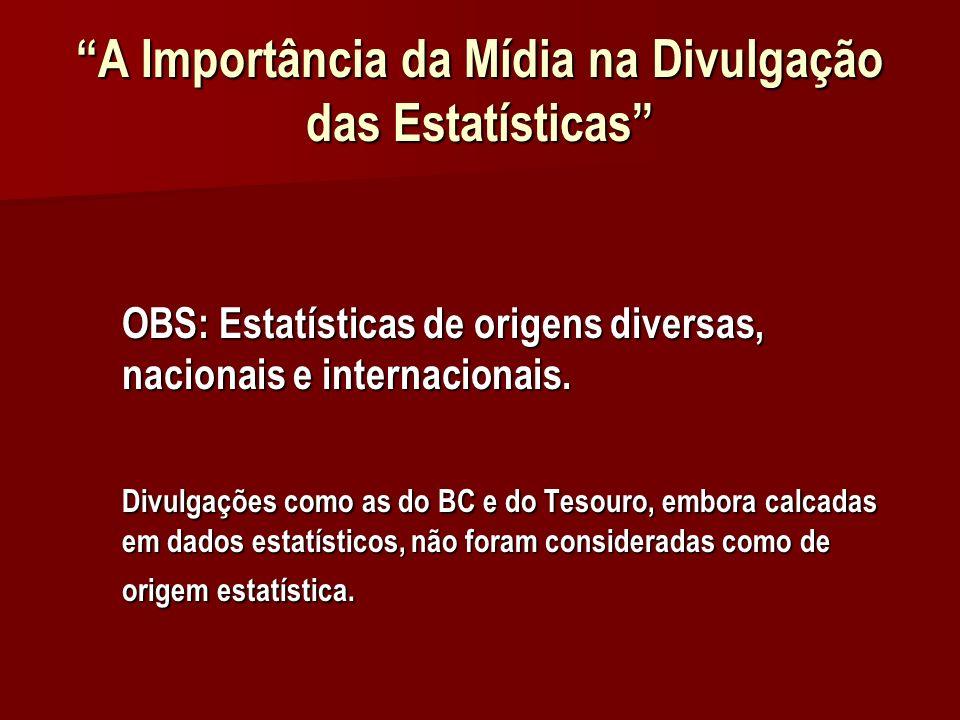 A Importância da Mídia na Divulgação das Estatísticas OBS: Estatísticas de origens diversas, nacionais e internacionais.