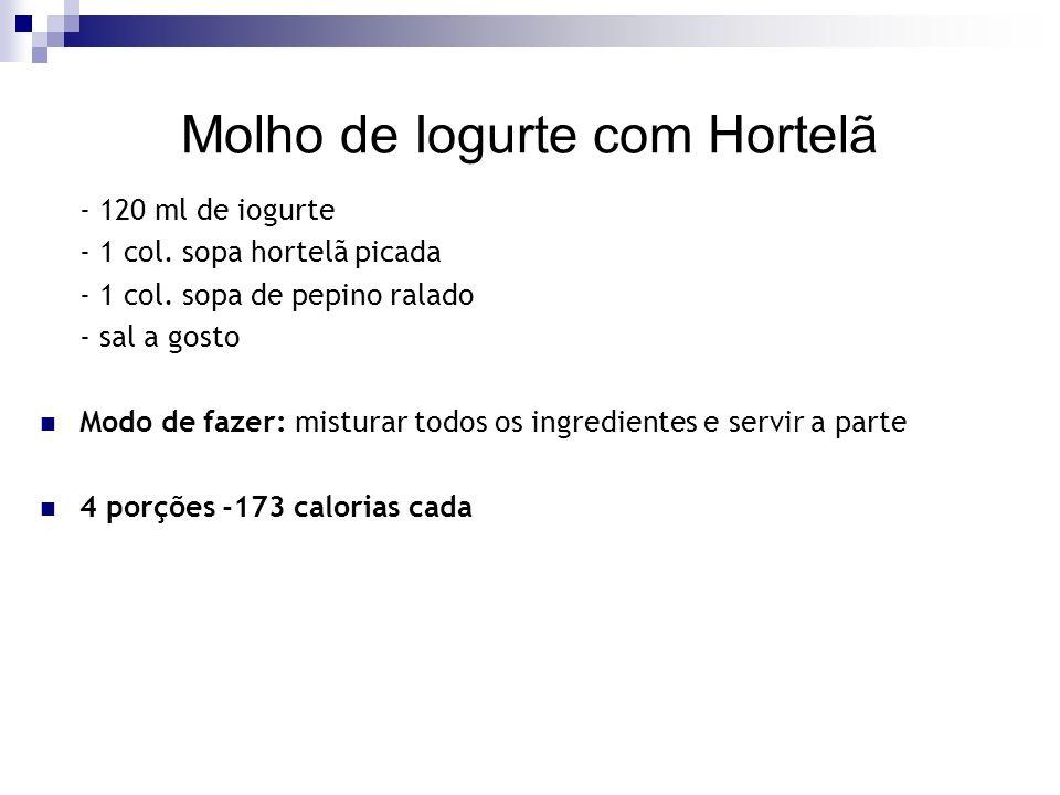 Molho de Iogurte com Hortelã - 120 ml de iogurte - 1 col.