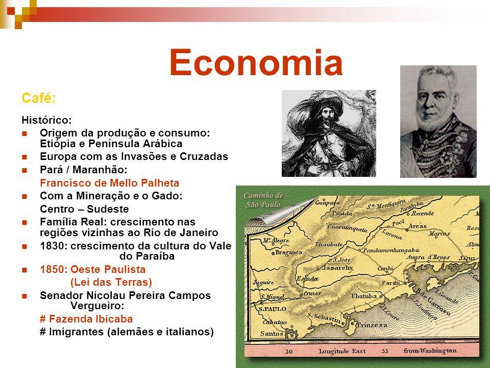Economia Café: Histórico: Origem da produção e consumo: Etiópia e Península Arábica Europa com as Invasões e Cruzadas Pará / Maranhão: Francisco de Me