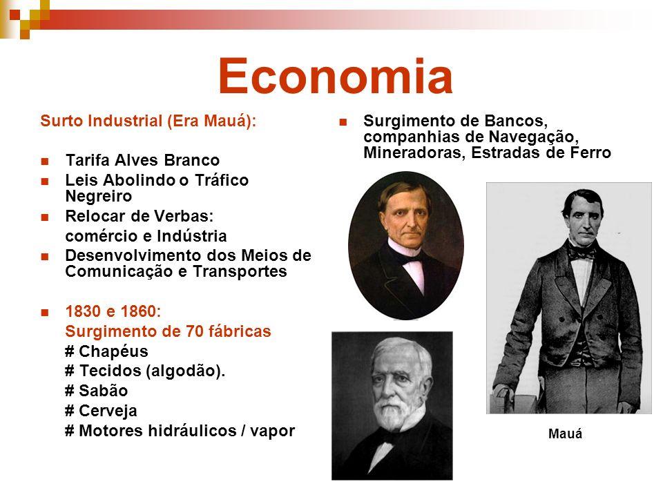 Economia Surto Industrial (Era Mauá): Tarifa Alves Branco Leis Abolindo o Tráfico Negreiro Relocar de Verbas: comércio e Indústria Desenvolvimento dos