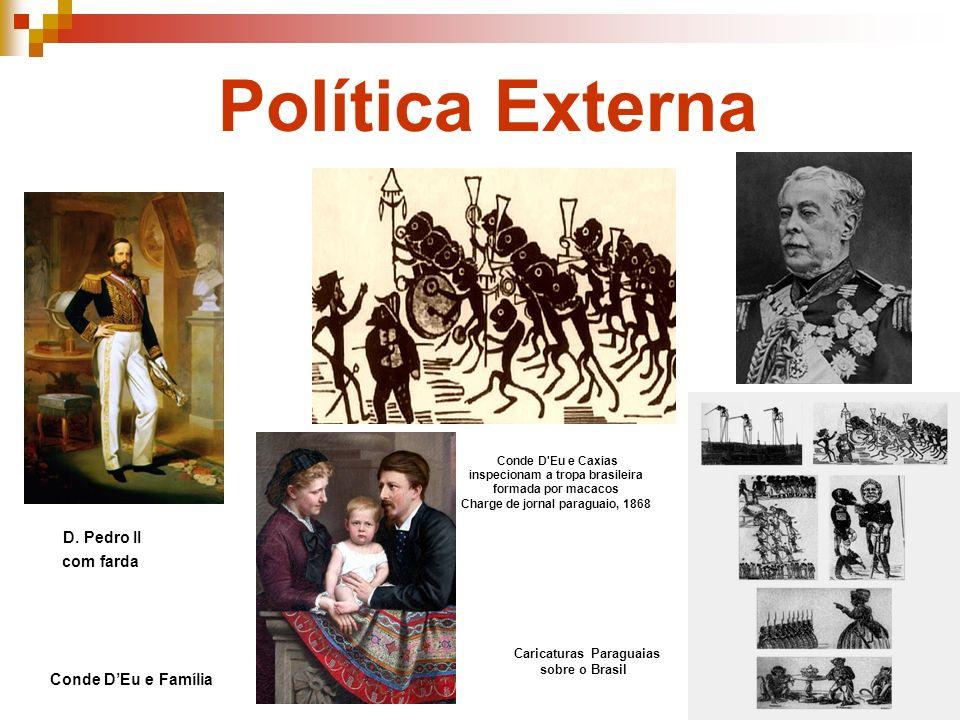 Política Externa Conde DEu e Família D. Pedro II com farda Caricaturas Paraguaias sobre o Brasil Conde D'Eu e Caxias inspecionam a tropa brasileira fo