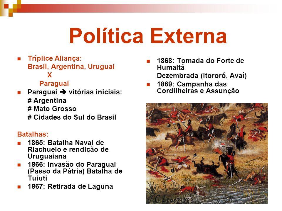 Política Externa Tríplice Aliança: Brasil, Argentina, Uruguai X Paraguai Paraguai vitórias iniciais: # Argentina # Mato Grosso # Cidades do Sul do Bra