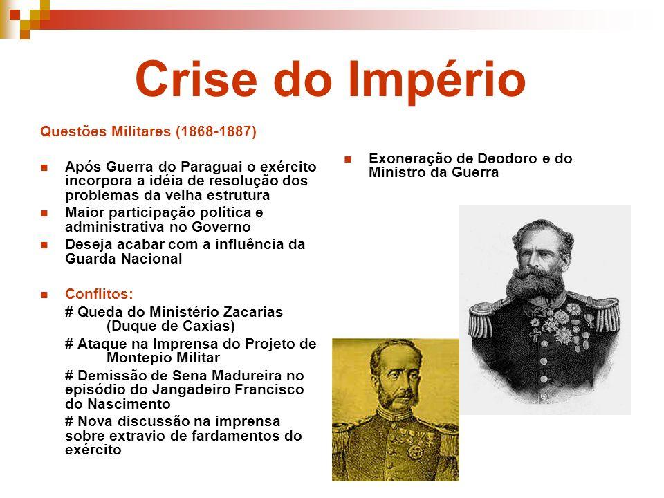 Crise do Império Questões Militares (1868-1887) Após Guerra do Paraguai o exército incorpora a idéia de resolução dos problemas da velha estrutura Mai