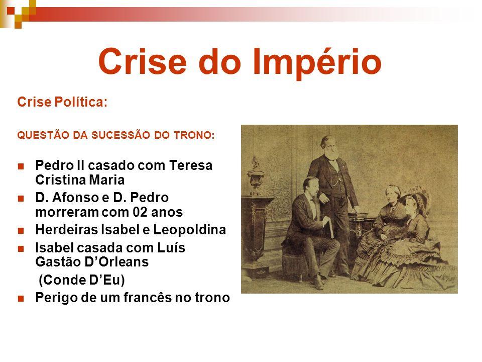 Crise do Império Crise Política: QUESTÃO DA SUCESSÃO DO TRONO: Pedro II casado com Teresa Cristina Maria D. Afonso e D. Pedro morreram com 02 anos Her