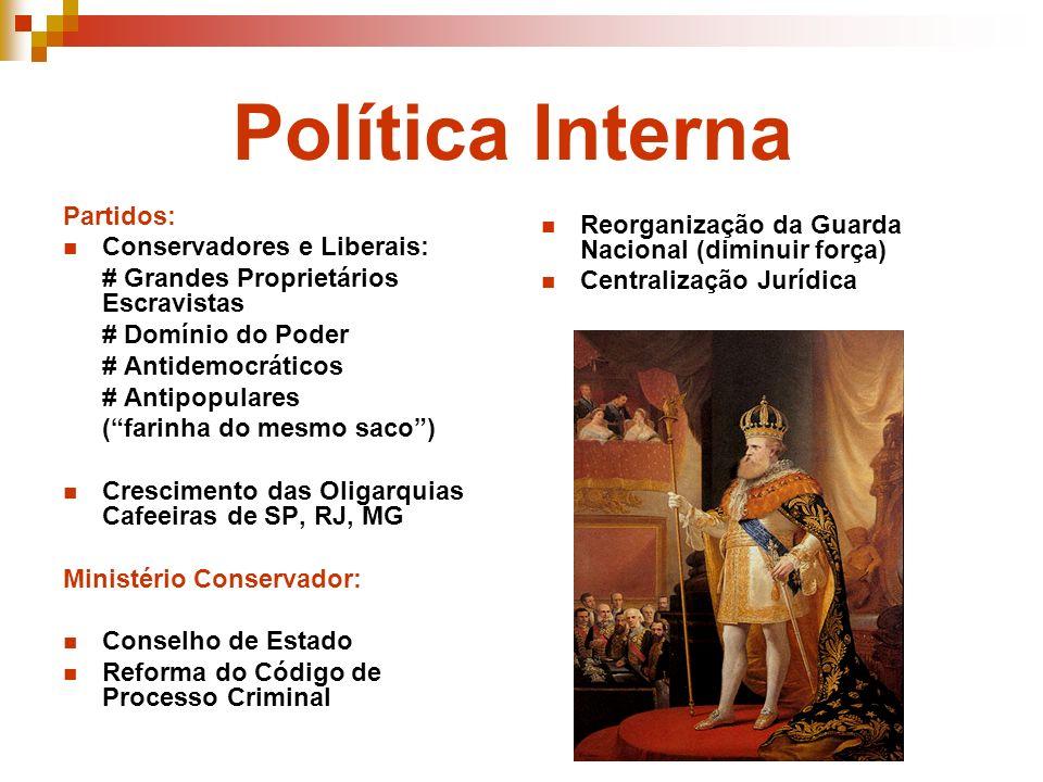Política Interna Partidos: Conservadores e Liberais: # Grandes Proprietários Escravistas # Domínio do Poder # Antidemocráticos # Antipopulares (farinh
