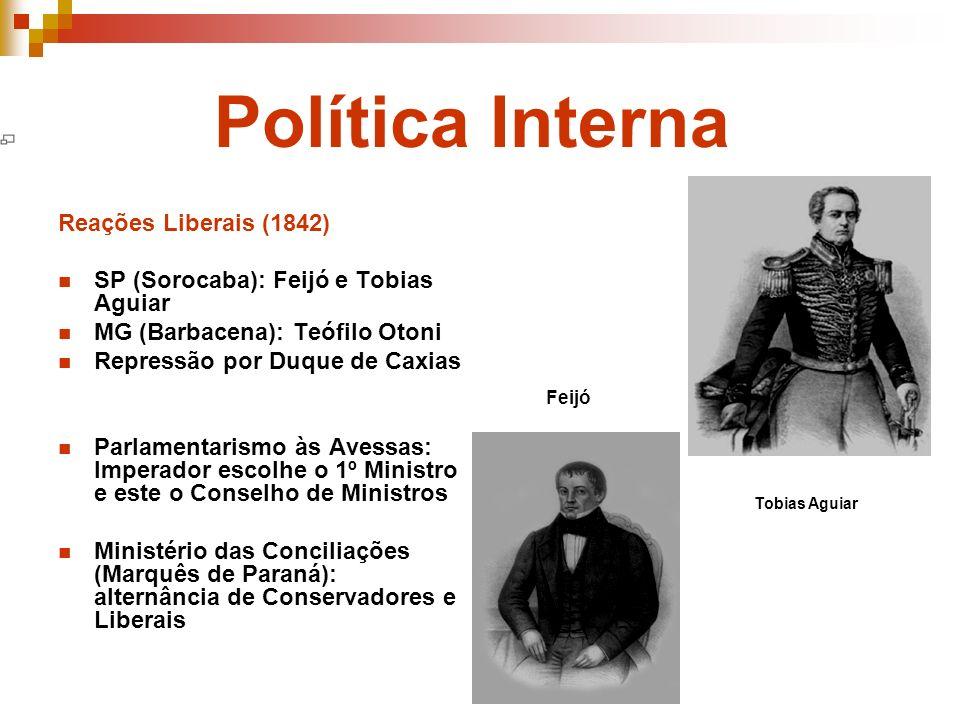 Política Interna Reações Liberais (1842) SP (Sorocaba): Feijó e Tobias Aguiar MG (Barbacena): Teófilo Otoni Repressão por Duque de Caxias Parlamentari