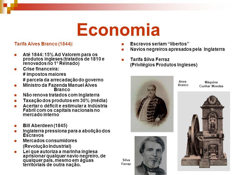 Tarifa Alves Branco (1844): Até 1844: 15% Ad Valorem para os produtos ingleses (tratados de 1810 e renovados no 1º Reinado) Crise financeira: # impost