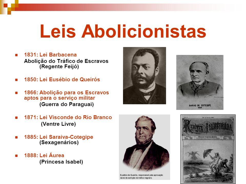 Leis Abolicionistas 1831: Lei Barbacena Abolição do Tráfico de Escravos (Regente Feijó) 1850: Lei Eusébio de Queirós 1866: Abolição para os Escravos a