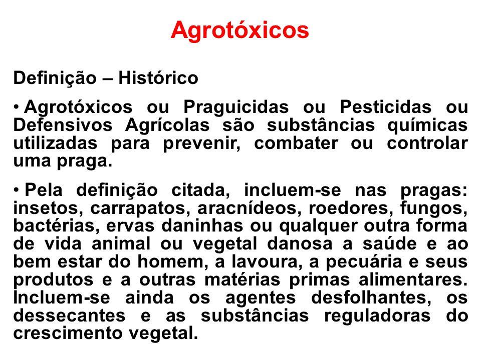 Agrotóxicos Definição – Histórico Agrotóxicos ou Praguicidas ou Pesticidas ou Defensivos Agrícolas são substâncias químicas utilizadas para prevenir,