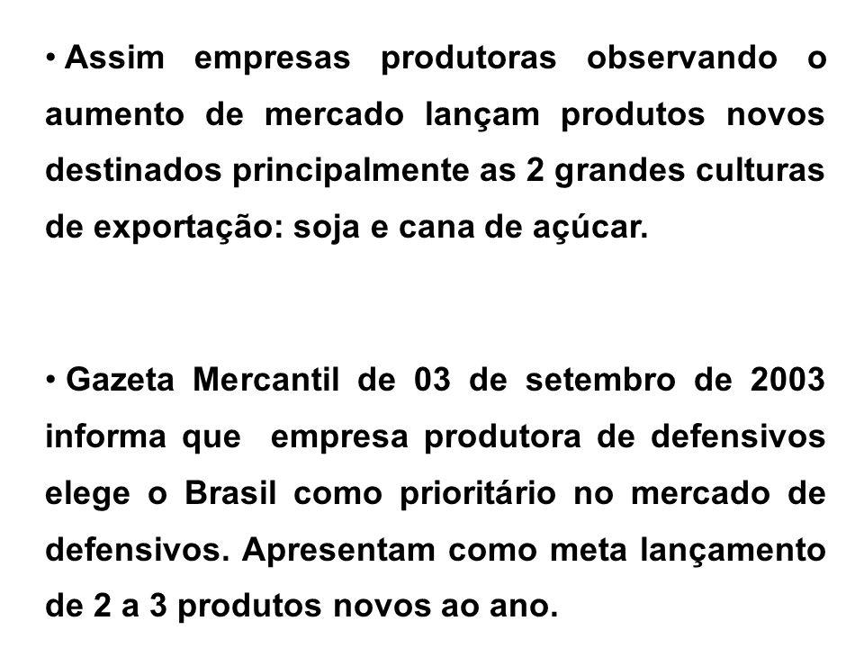 Assim empresas produtoras observando o aumento de mercado lançam produtos novos destinados principalmente as 2 grandes culturas de exportação: soja e