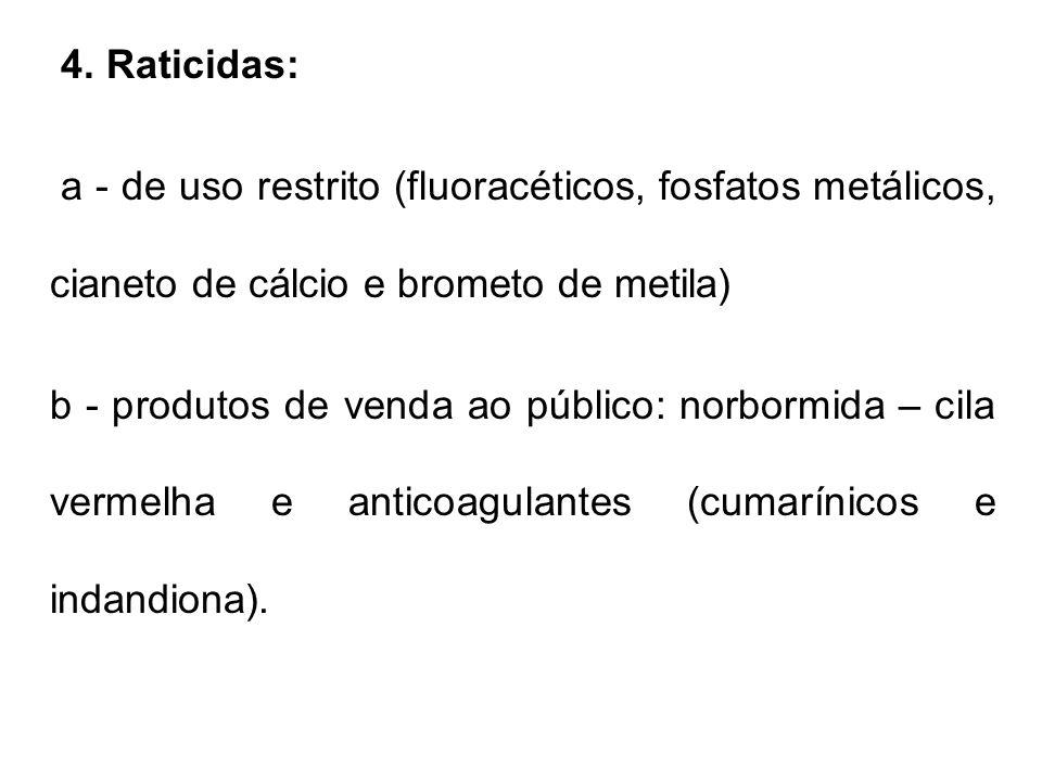 4. Raticidas: a - de uso restrito (fluoracéticos, fosfatos metálicos, cianeto de cálcio e brometo de metila) b - produtos de venda ao público: norborm