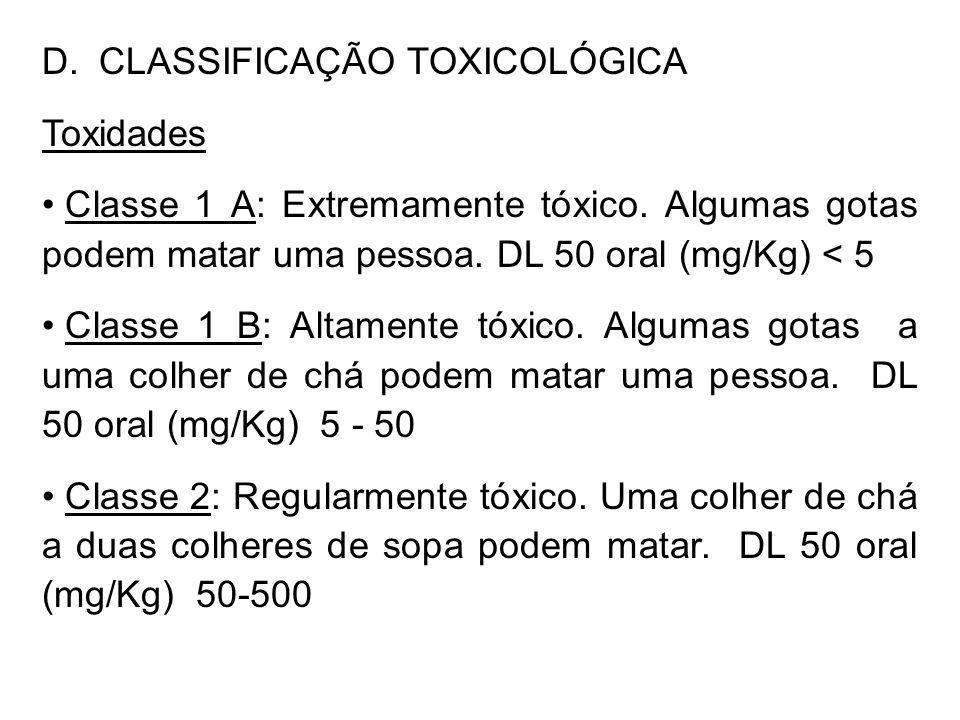 D. CLASSIFICAÇÃO TOXICOLÓGICA Toxidades Classe 1 A: Extremamente tóxico. Algumas gotas podem matar uma pessoa. DL 50 oral (mg/Kg) < 5 Classe 1 B: Alta