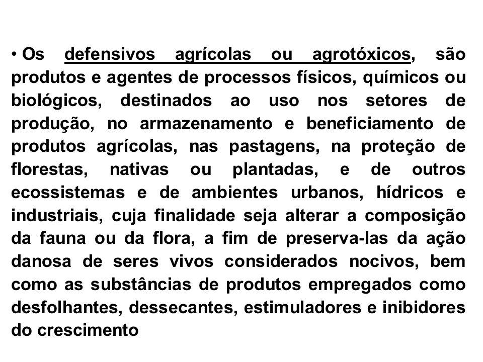 1.Inseticidas: a - Organoclorados Ex. DDT, BHC, Aldrin, Heptacloro, etc...