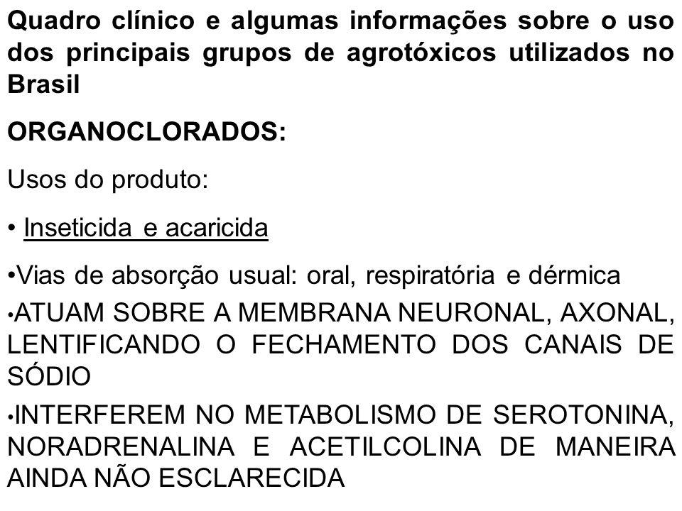 Quadro clínico e algumas informações sobre o uso dos principais grupos de agrotóxicos utilizados no Brasil ORGANOCLORADOS: Usos do produto: Inseticida