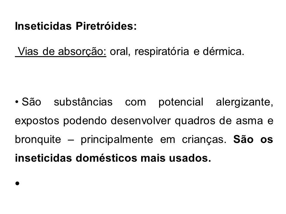 Inseticidas Piretróides: Vias de absorção: oral, respiratória e dérmica. São substâncias com potencial alergizante, expostos podendo desenvolver quadr