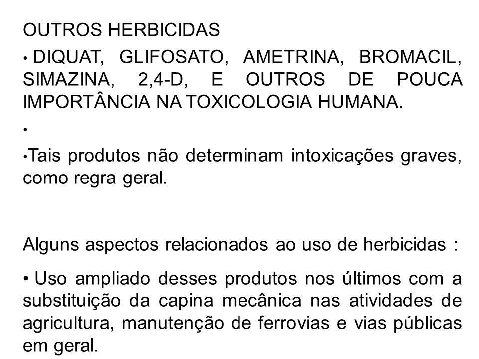 OUTROS HERBICIDAS DIQUAT, GLIFOSATO, AMETRINA, BROMACIL, SIMAZINA, 2,4-D, E OUTROS DE POUCA IMPORTÂNCIA NA TOXICOLOGIA HUMANA. Tais produtos não deter