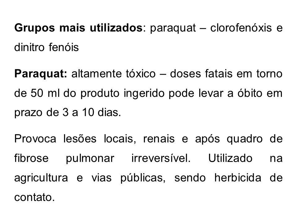 Grupos mais utilizados: paraquat – clorofenóxis e dinitro fenóis Paraquat: altamente tóxico – doses fatais em torno de 50 ml do produto ingerido pode