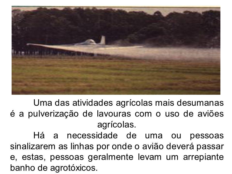 Uma das atividades agrícolas mais desumanas é a pulverização de lavouras com o uso de aviões agrícolas. Há a necessidade de uma ou pessoas sinalizarem