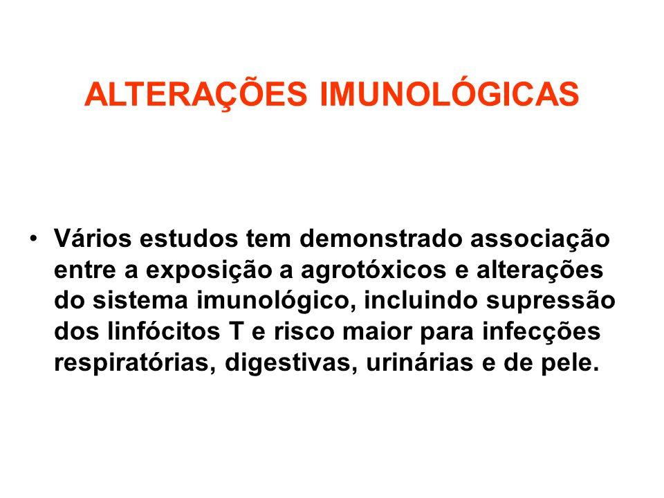 ALTERAÇÕES IMUNOLÓGICAS Vários estudos tem demonstrado associação entre a exposição a agrotóxicos e alterações do sistema imunológico, incluindo supre