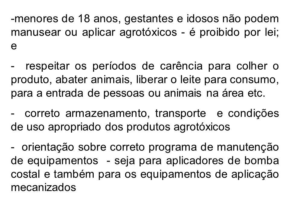 -menores de 18 anos, gestantes e idosos não podem manusear ou aplicar agrotóxicos - é proibido por lei; e - respeitar os períodos de carência para col