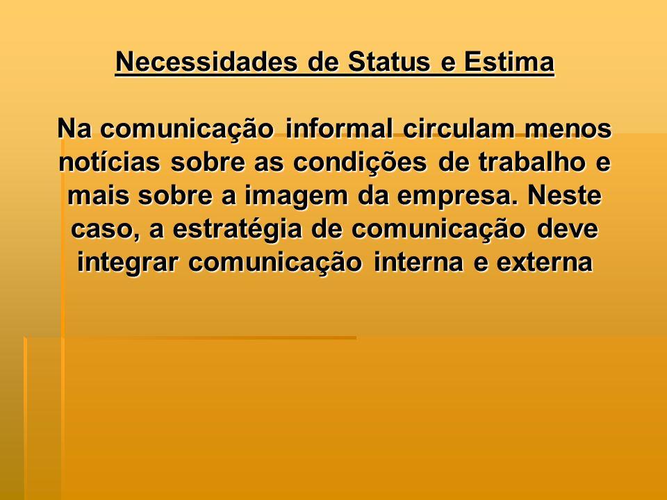 Necessidades de Status e Estima Na comunicação informal circulam menos notícias sobre as condições de trabalho e mais sobre a imagem da empresa. Neste