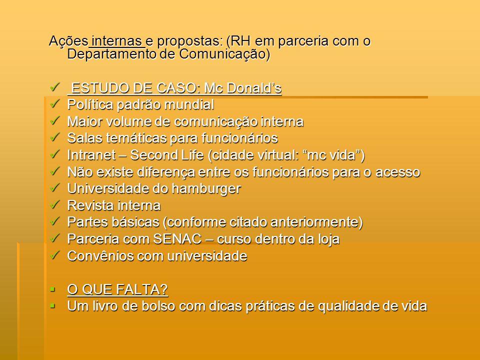 Ações internas e propostas: (RH em parceria com o Departamento de Comunicação) ESTUDO DE CASO: Mc Donalds ESTUDO DE CASO: Mc Donalds Política padrão m