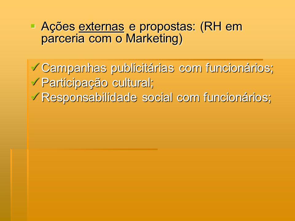 Ações externas e propostas: (RH em parceria com o Marketing) Ações externas e propostas: (RH em parceria com o Marketing) Campanhas publicitárias com
