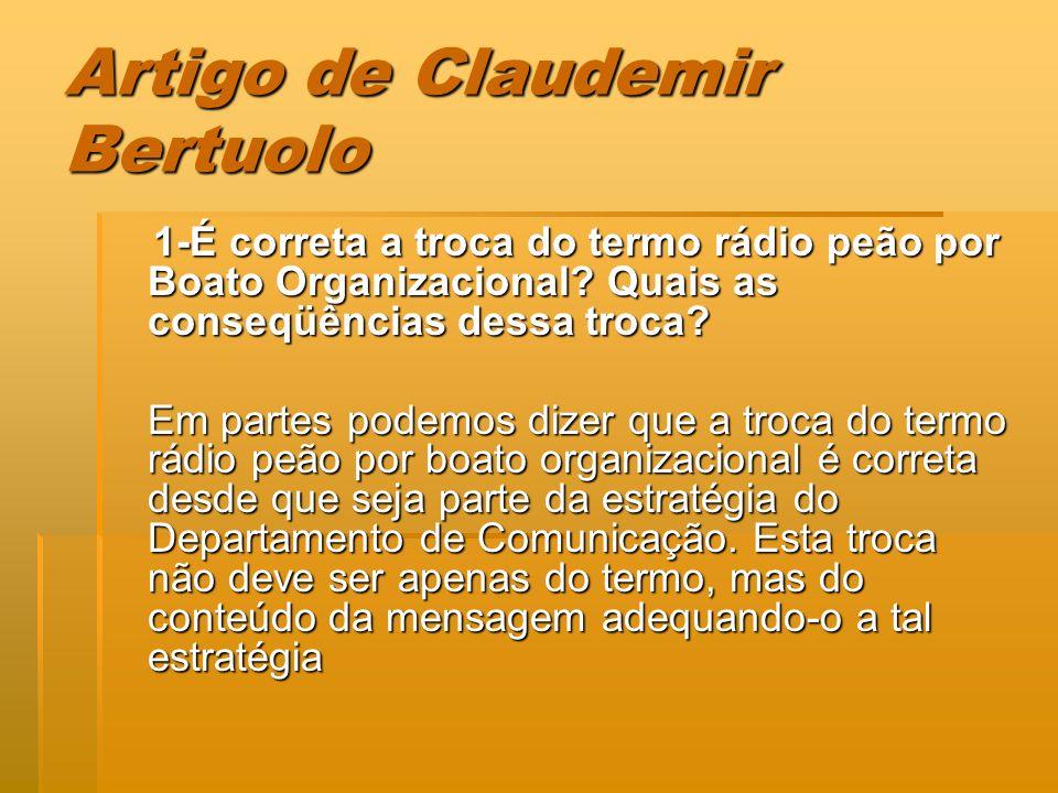Artigo de Claudemir Bertuolo 1-É correta a troca do termo rádio peão por Boato Organizacional? Quais as conseqüências dessa troca? 1-É correta a troca