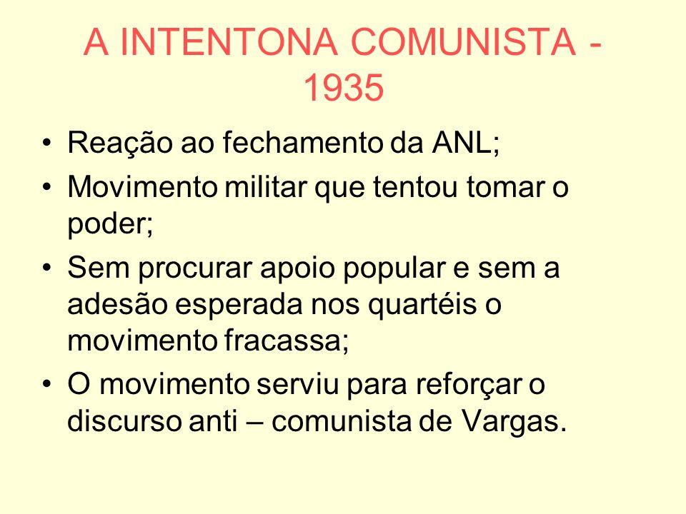 A INTENTONA COMUNISTA - 1935 Reação ao fechamento da ANL; Movimento militar que tentou tomar o poder; Sem procurar apoio popular e sem a adesão esperada nos quartéis o movimento fracassa; O movimento serviu para reforçar o discurso anti – comunista de Vargas.