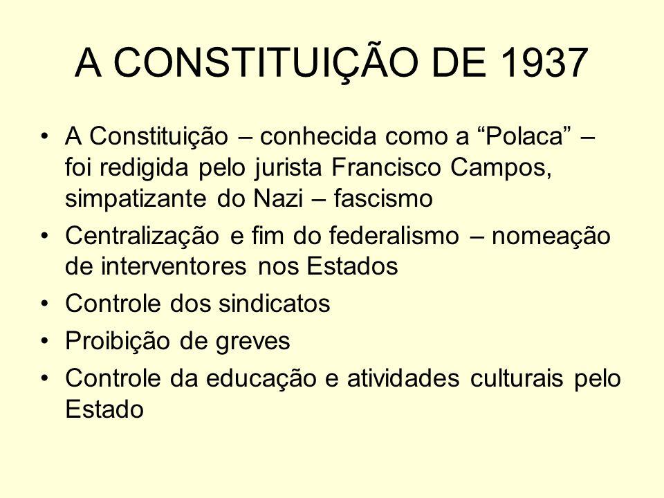 A CONSTITUIÇÃO DE 1937 A Constituição – conhecida como a Polaca – foi redigida pelo jurista Francisco Campos, simpatizante do Nazi – fascismo Centralização e fim do federalismo – nomeação de interventores nos Estados Controle dos sindicatos Proibição de greves Controle da educação e atividades culturais pelo Estado